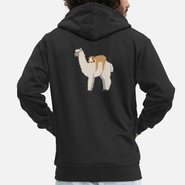 Sleeping Sloth Riding Llama Adorable Lama & Sleepy Sloth - Men's Premium Zip Hoodie