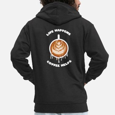 Cappuccino Life happens coffee helps coffee - Männer Premium Kapuzenjacke