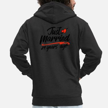 China Just Married 29 Year Ago Funny Wedding - Men's Premium Zip Hoodie
