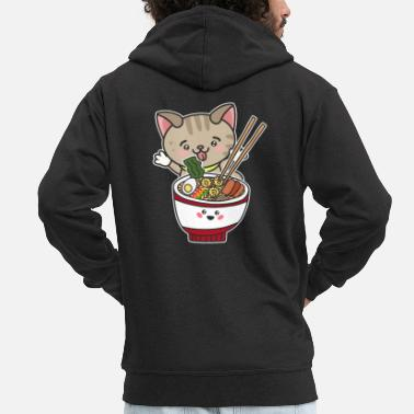 Design Kawaii Japanese Anime Ramen Noodle Cat gift print - Men's Premium Zip Hoodie