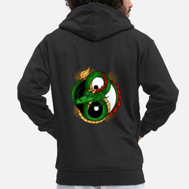 Chinese Yin And Yang Dragon Light & Dark Balance Chinese - Men's Premium Zip Hoodie