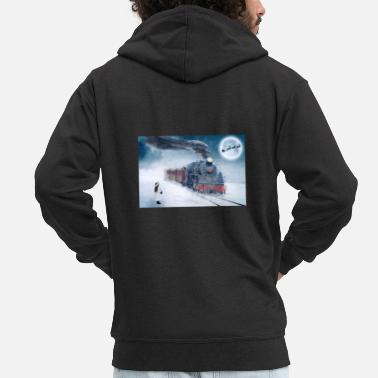 Trains Train Railway Snow Advent Christmas Reindeer - Men's Premium Zip Hoodie