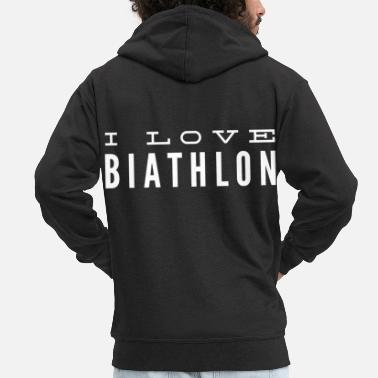 Target Biathlon Winter Sports Ski Team Cross Country Gift 18 - Men's Premium Zip Hoodie