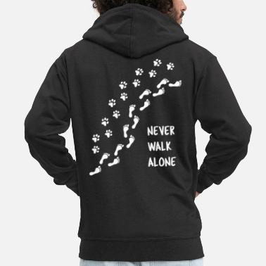 Never Never Walk Alone Footprint Paw Dog Cat - Men's Premium Zip Hoodie