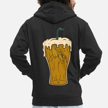 Beer Glass Nessie Monster Monster Loch Ness Party - Men's Premium Zip Hoodie