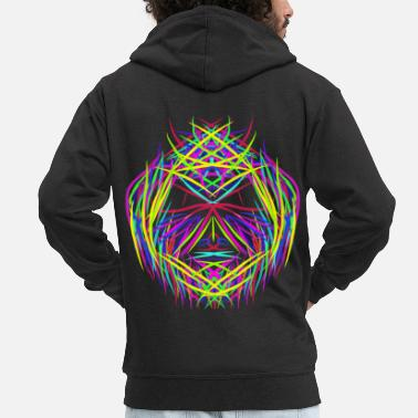 Trippy face trippy abstract psychedelic colorful - Men's Premium Hooded Jacket