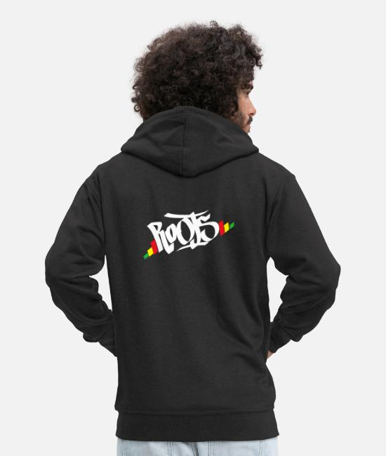 Rasta Hoodies & Sweatshirts - Roots Rasta - Men's Premium Zip Hoodie black