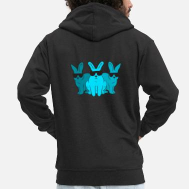 Hippie Hip Hop Trio Bunnies Shades Funny Hipster Easter - Men's Premium Zip Hoodie