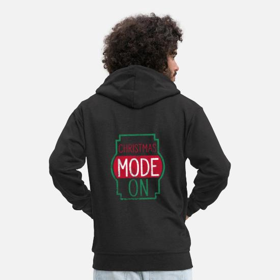 Snowman Hoodies & Sweatshirts - Christmas Mode On - Men's Premium Zip Hoodie black