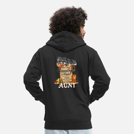 Play Hoodies & Sweatshirts - Country Music Aunt - Men's Premium Zip Hoodie black
