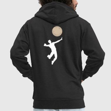 Volleyball game Funny moon serve gift idea - Men's Premium Hooded Jacket
