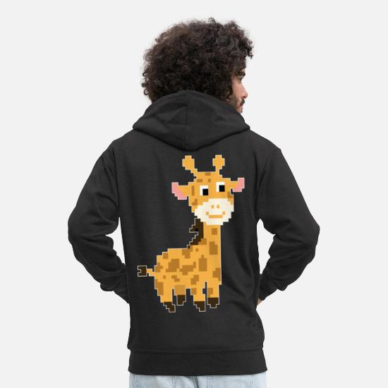 Africa Hoodies & Sweatshirts - Retro 8-Bit Pixel Giraffe Gamer Gaming Video Game - Men's Premium Zip Hoodie black