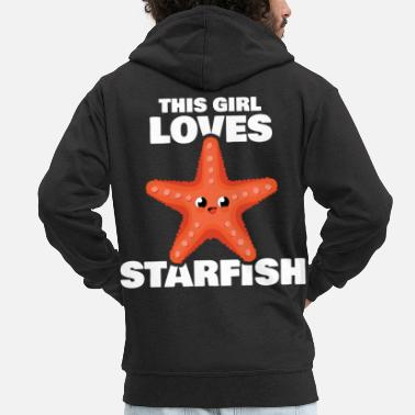Aquarium This Girl Loves Starfish Sea Star Quote - Men's Premium Zip Hoodie