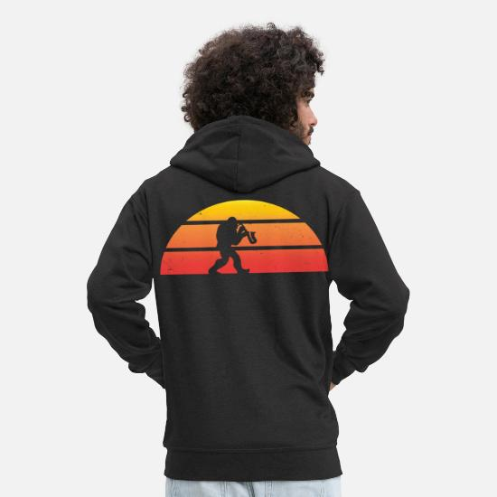 Big Hoodies & Sweatshirts - Bigfoot playing Saxophone Sasquatch Saxophonist - Men's Premium Zip Hoodie black