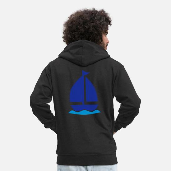 Sailboat Hoodies & Sweatshirts - sailboat - Men's Premium Zip Hoodie black