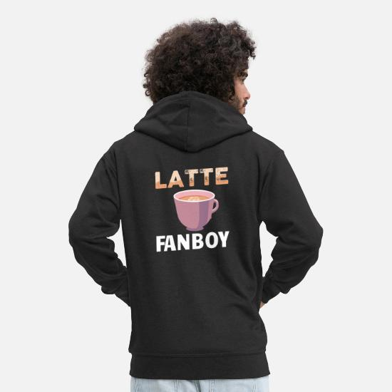 Java Hoodies & Sweatshirts - SARCASM / COFFEE: Latte fan boy - Men's Premium Zip Hoodie black