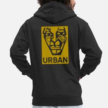 Graffiti Graffiti Cubist urban man head face gold - Men's Premium Hooded Jacket