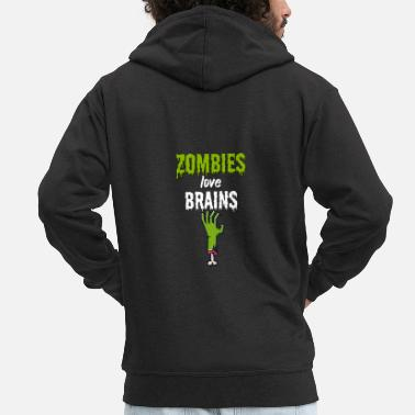 Devil Male Zombies love brains - Men's Premium Zip Hoodie