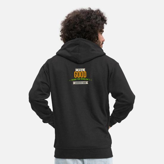 Surname Hoodies & Sweatshirts - It's A Good Thing Last Name Surname Pride - Men's Premium Zip Hoodie black