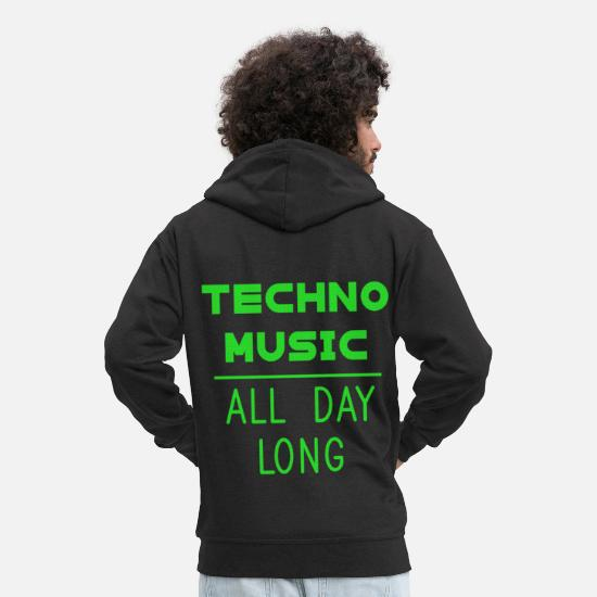 Basso Felpe - Techno Music All Day Long Electronic Dance corvo - Felpa con zip premium uomo nero