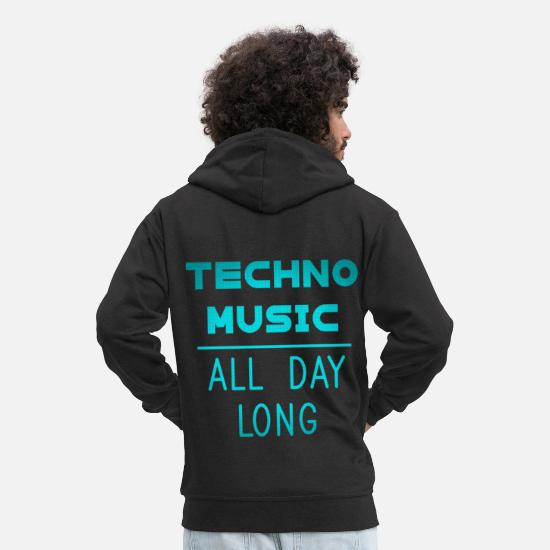 Raver Sweat-shirts - Techno Music All Day Long Danse électronique minimale - Veste à capuche premium Homme noir