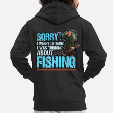 Sea Fishing Fishing Fish Funny Fishing Rod Fisherman - Men's Premium Zip Hoodie