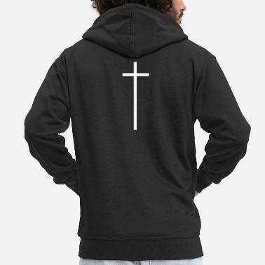 Methodist Cross White CROSS - Men's Premium Zip Hoodie