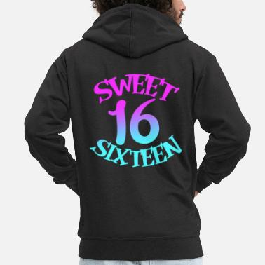 Sixteen Sweet Sixteen Birthday Squad Sweet Sixteen - Men's Premium Zip Hoodie