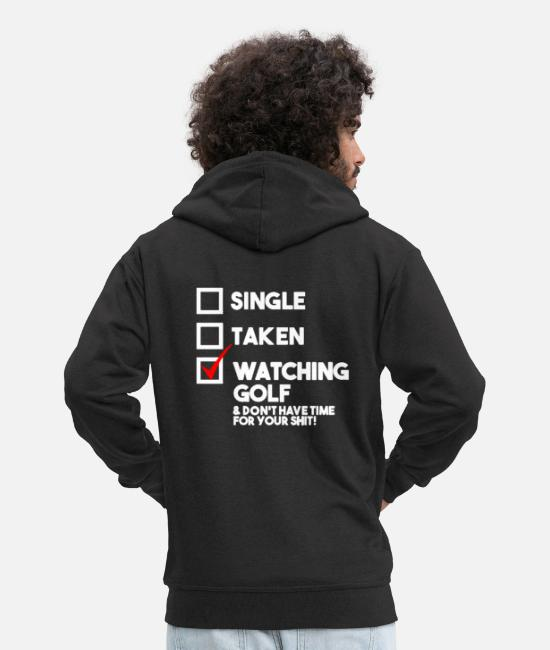 Christmas Hoodies & Sweatshirts - Watching golf - Men's Premium Zip Hoodie black
