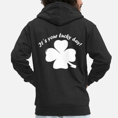 New Year's Day Shamrock, Lucky Day, New Year, New Year's Eve - Men's Premium Zip Hoodie