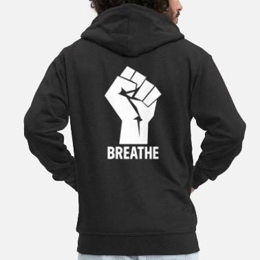 African American Breathe - Black Lives Matter Hand - Men's Premium Zip Hoodie
