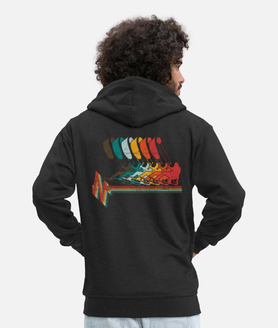 Water Hoodies & Sweatshirts - Vintage KITE Kiten Surfer Kiteboarding Retro Kites - Men's Premium Zip Hoodie black