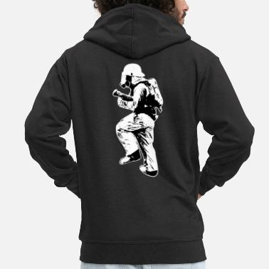 Silhouette Firefighter silhouette fire department fire gift - Men's Premium Zip Hoodie