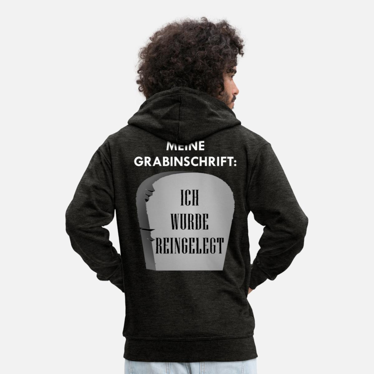 Schwarzer Humor' Männer Premium Kapuzenjacke   Spreadshirt