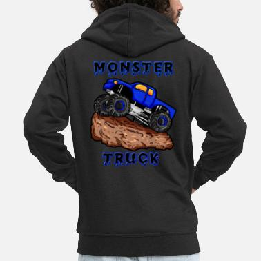 Monster Truck Monster truck car blue son boy monster truck - Men's Premium Zip Hoodie