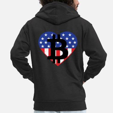 Stars And Stripes Bitcoin Investor Told You So Heart - Men's Premium Zip Hoodie