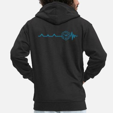 Paper Heartbeat Pen and Paper RPG Dice T-Shirt Gift - Men's Premium Zip Hoodie