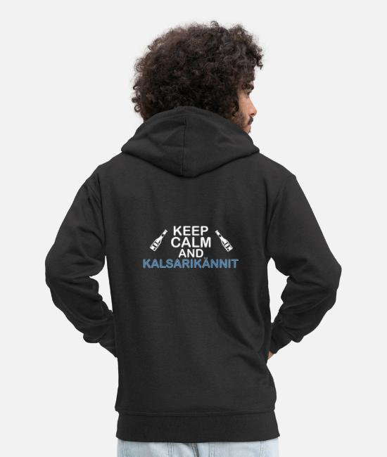 Christmas Hoodies & Sweatshirts - keep calm and Kalsarikännit - Men's Premium Zip Hoodie black