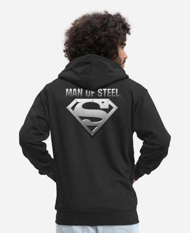 Movie Sweaters & hoodies - Superman S-Shield Steel Look Teenager's T-Shirt - Mannen premium zip hoodie zwart
