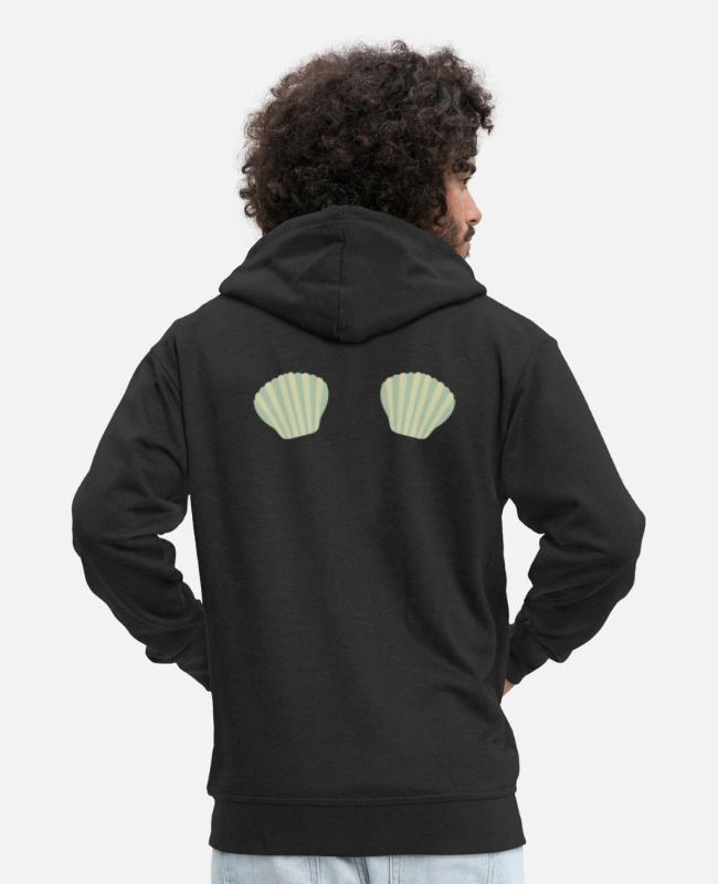 Nature Hoodies & Sweatshirts - Green Mermaid bikini - Men's Premium Zip Hoodie black