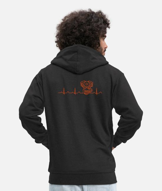 Crocker Sweaters & hoodies - Panhead Heartbeat orange - Mannen premium zip hoodie zwart
