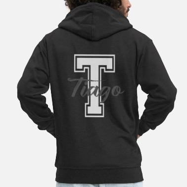 Name Day Tiago gift custom Tshirt Tiago name - Men's Premium Zip Hoodie