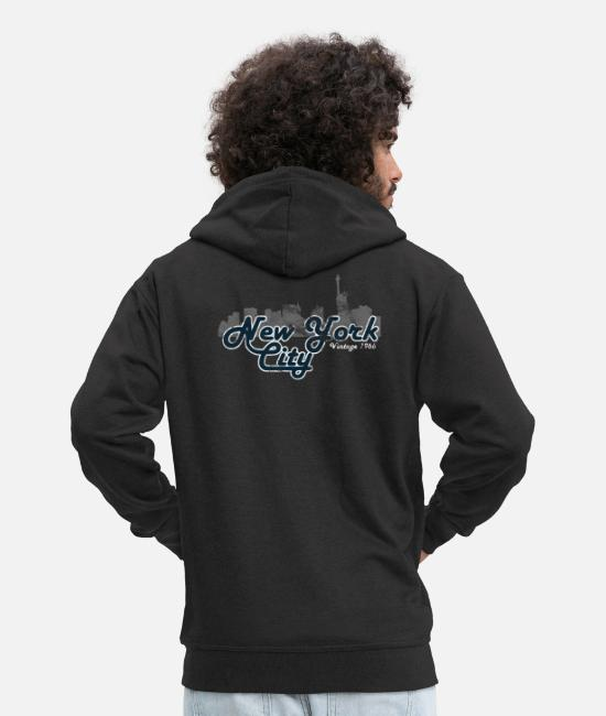 New York City Hoodies & Sweatshirts - New York City Vintage - Men's Premium Zip Hoodie black