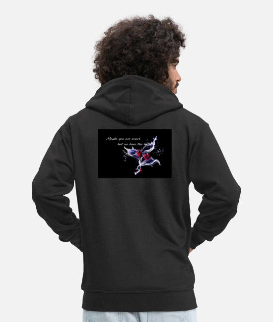 Water Hoodies & Sweatshirts - Cherry - Maybe you are smart - Men's Premium Zip Hoodie black