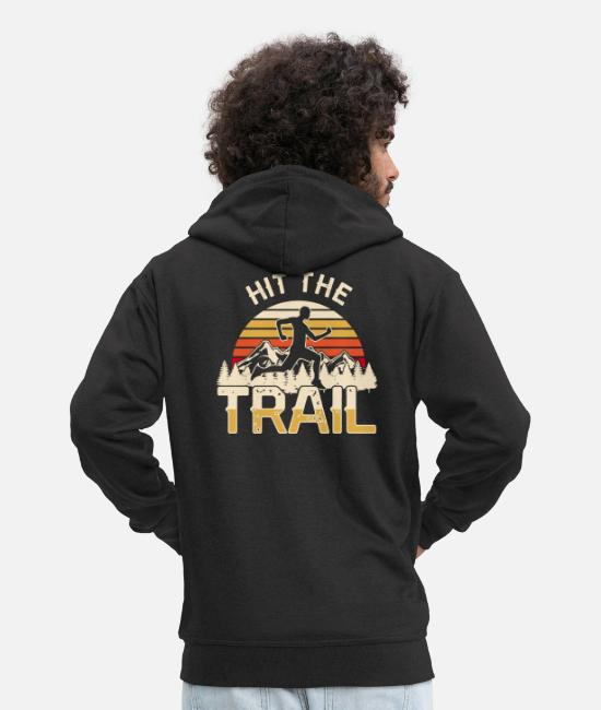 Runner Hoodies & Sweatshirts - Hit the Trail Runner Jogger Jogging Rennen Wald - Men's Premium Zip Hoodie black