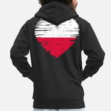 Poland heart flag flag coat of arms - Men's Premium Zip Hoodie