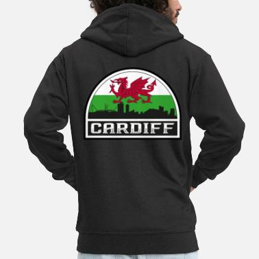 British Flag Cardiff Wales Skyline Silhouette Welsh Flag Travel - Men's Premium Zip Hoodie