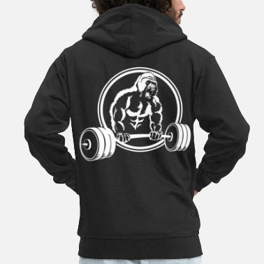 Squat Gorilla Gym Fitness Pump Monkey Scream - Men's Premium Zip Hoodie
