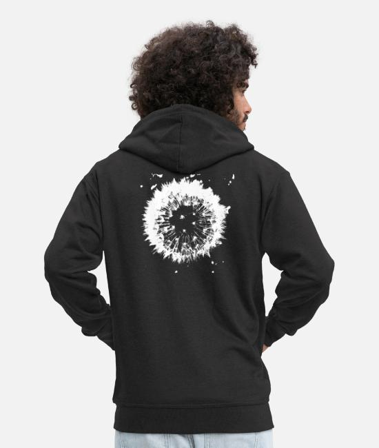 Drawing Hoodies & Sweatshirts - Dandelion - Men's Premium Zip Hoodie black