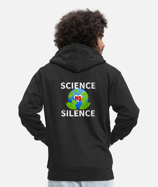 Pollution Hoodies & Sweatshirts - Science No Silence | Climate change & environmental protection - Men's Premium Zip Hoodie black